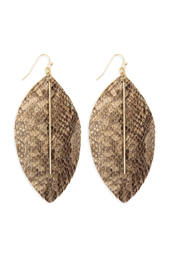 CE1995 - LEATHER FEATHER SNAKESKIN FISH HOOK BAR EARRINGS