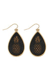 WOOD PINEAPPLE FISH HOOK TEARDROP EARRINGS