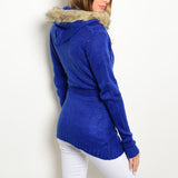 Faux Fur-Hooded Tie-Waist Cardigan - Up To X-Large - 2 Colors