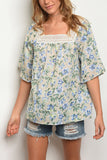 3/4 Sleeve Floral Print Top