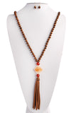 Wood Long Stone Necklace Set