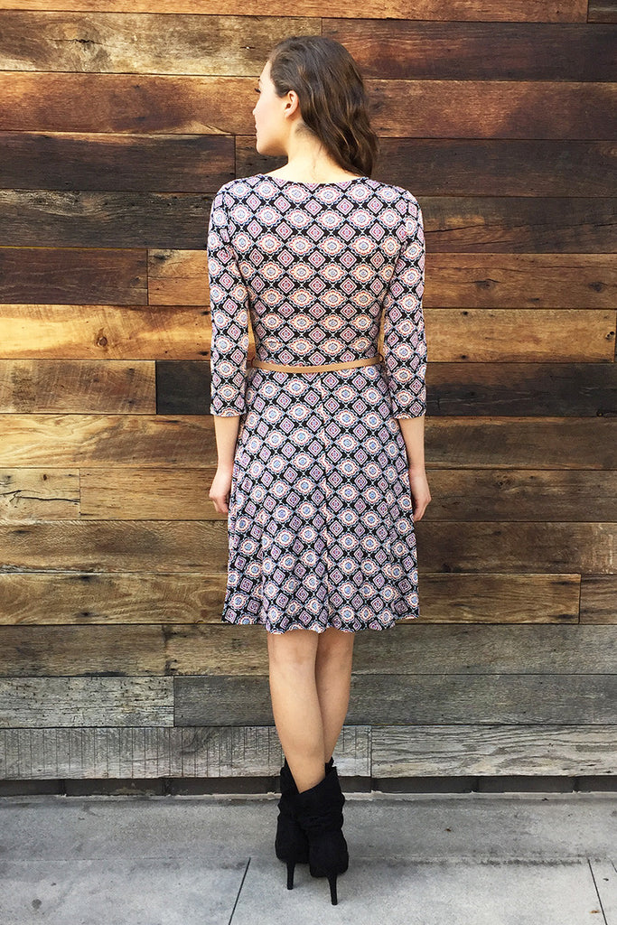 Wrap Shirring Dress with Belt