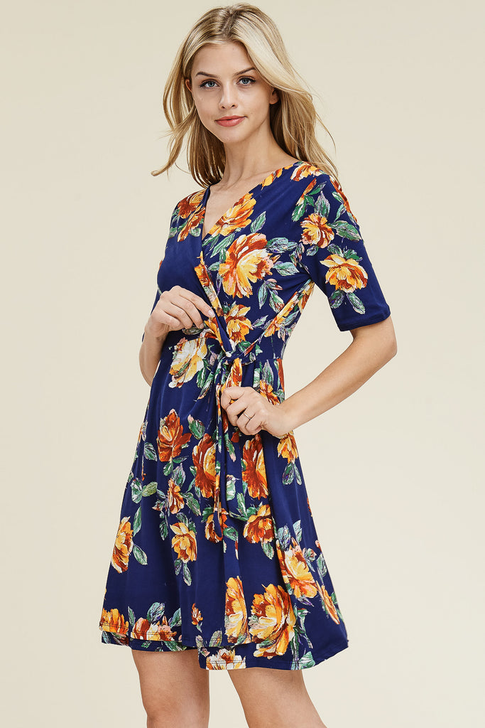 Short Sleeve V- Neck Floral Print Dress