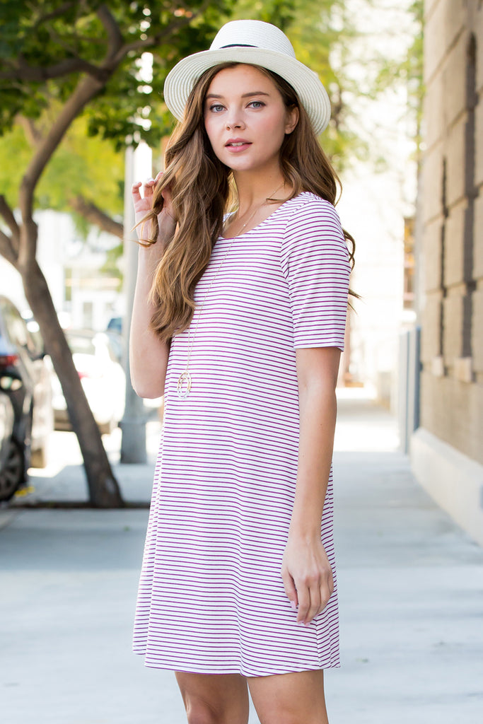 Cut Out Back Striped Half Sleeve Tunic Dress