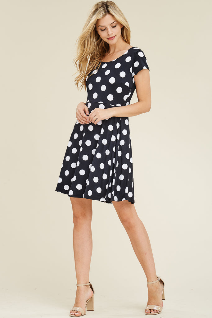 Short Cap Sleeve Polka Dot Dress