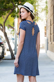 Cut-out Back Striped Short Sleeve Tunic Dress