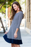 Quarter Sleeve Striped A-line Tiered Dress