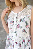 Floral Crochet Trim Button Down Tank Dress