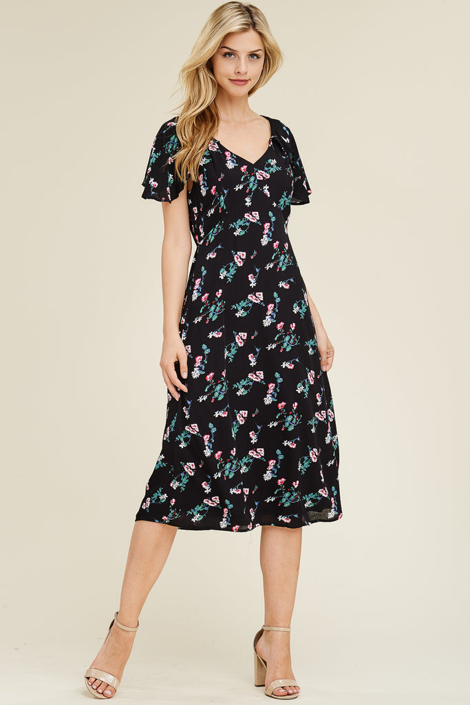 Short Ruffled Sleeve Floral Print Maxi Dress