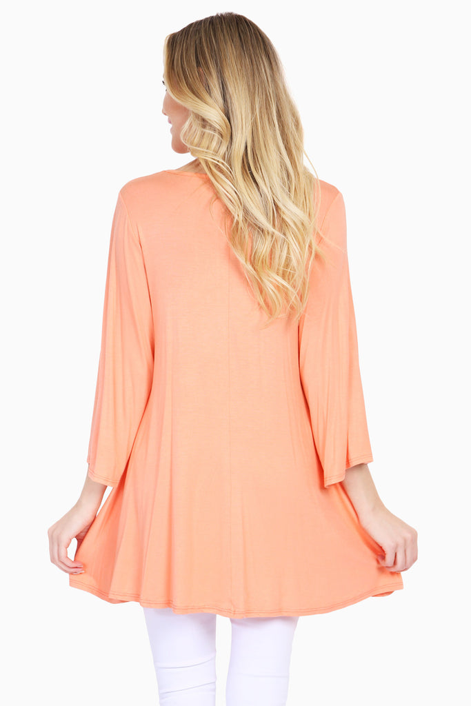 3/4 Sleeve Criss Cross Tunic Top - Riah Fashion