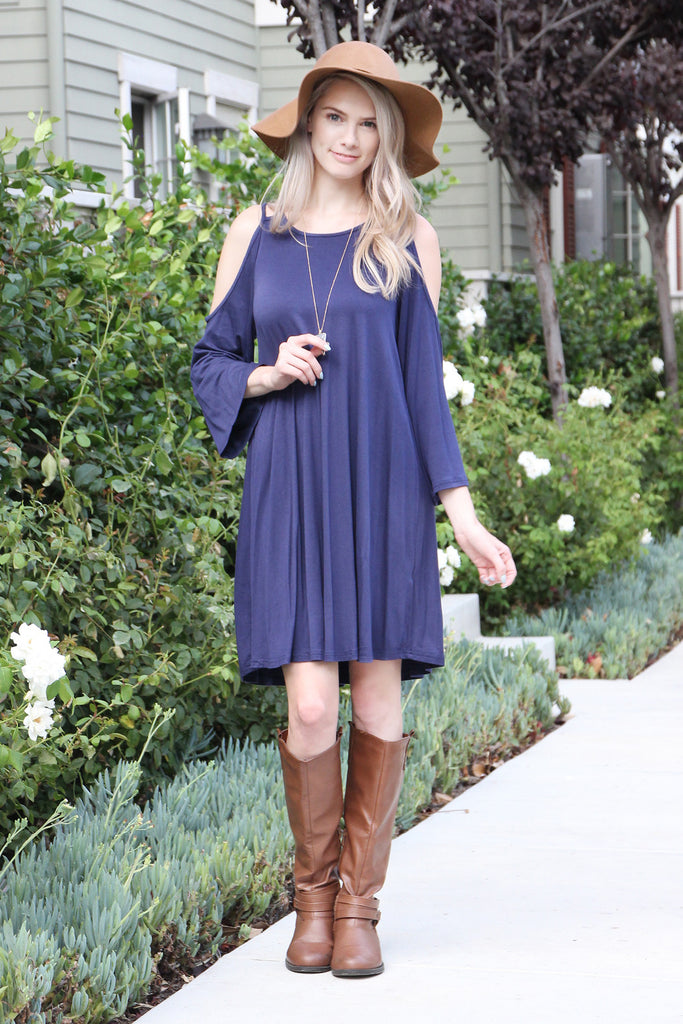 3/4 Sleeve Off-Shoulder Dress - Riah Fashion