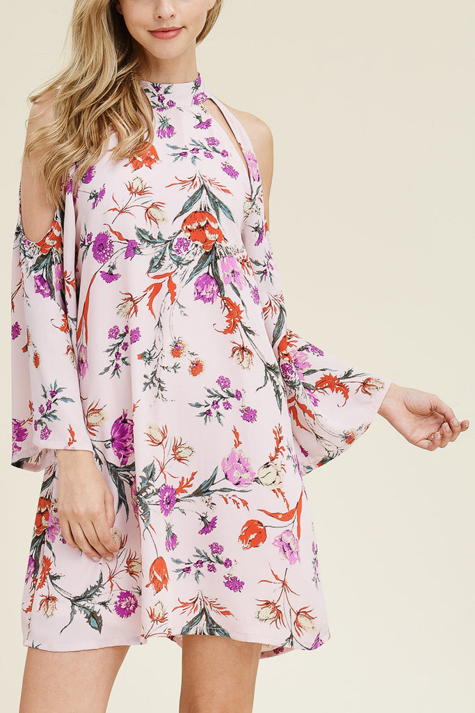 3/4 Sleeve Cold Shoulder High Neck Tunic Dress