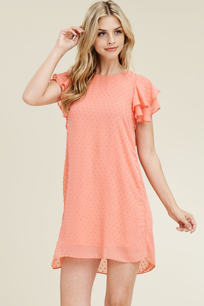 Ruffled Sleeve Dotted Mesh Tunic Dress