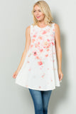 Sleeveless Tunic Dress with Floral Print Sublimation