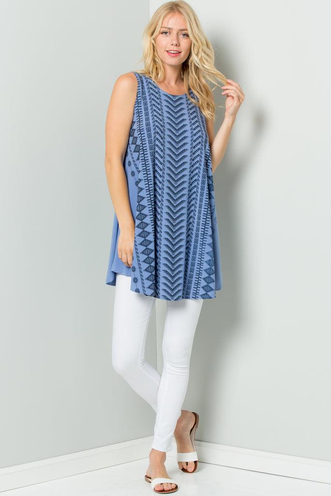 Sleeveless Tunic Dress with Striped Print Sublimation