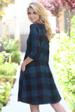 Buffalo Plaid Hacci Pocket Dress