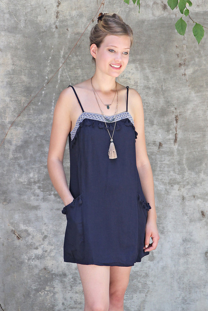 Pom Pom Dress with Side Pockets