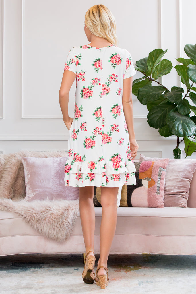 Short Sleeved Floral Ruffled Hem Dress