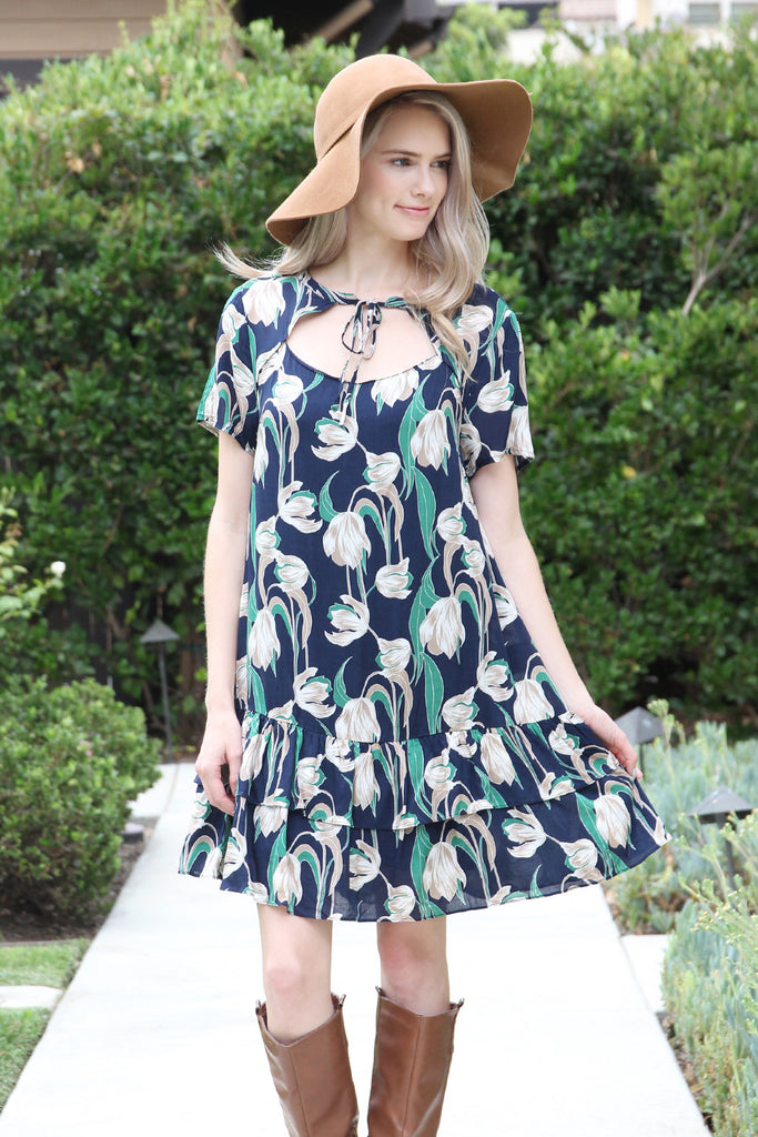 Short Sleeve Floral Ruffle Dress