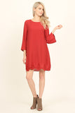 Crew Neck Lace Trim Shift Dress