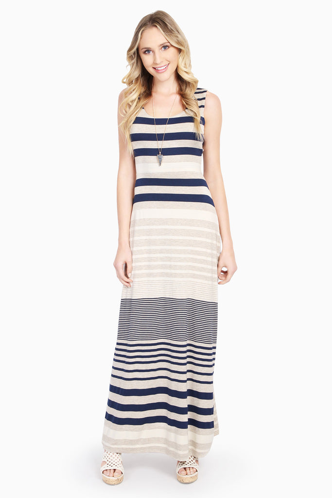 Cut Out Back Sleeveless Stripe Maxi Dress