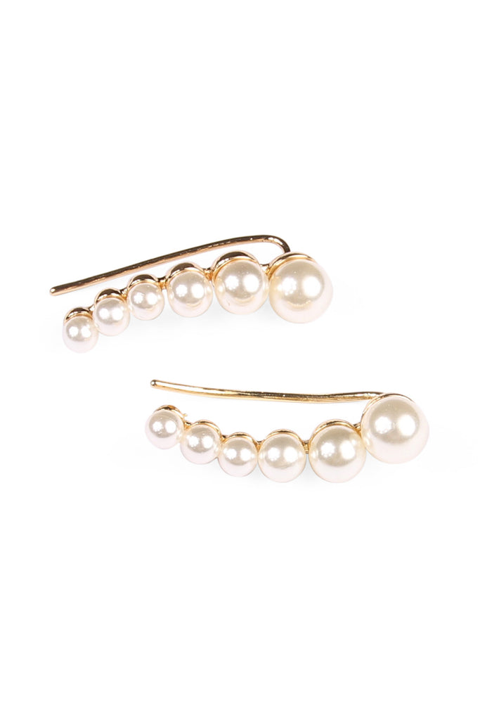 Simulated Pearl Ear Crawler Earrings