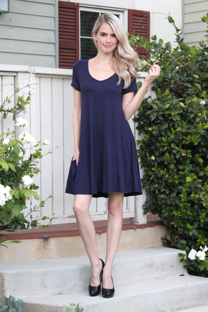 Short Sleeve V-Neck Pocket Dress
