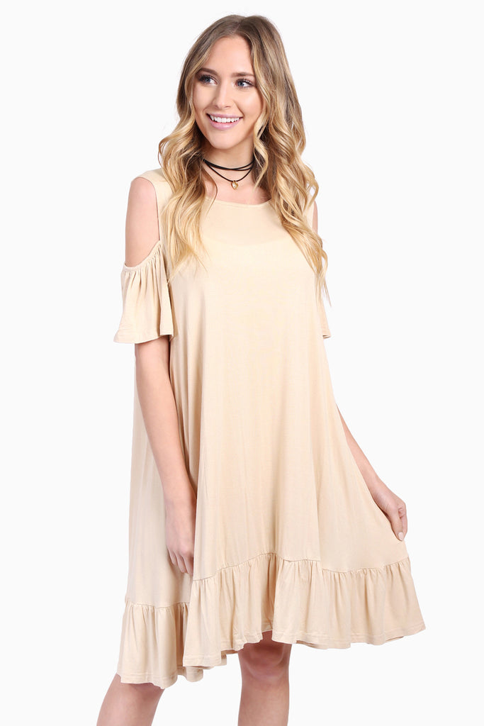 Cold Shoulder Ruffle Hem Dress
