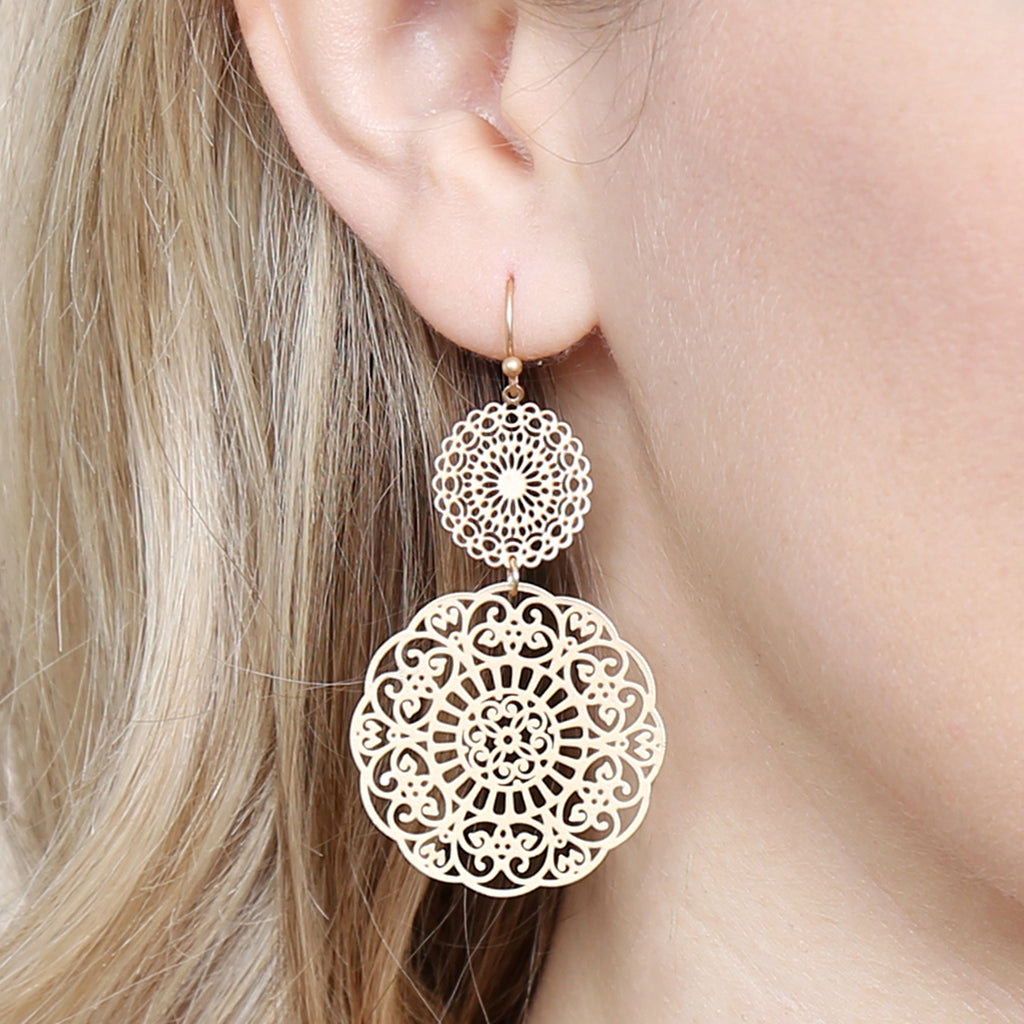 Round Filigree Statement Earrings