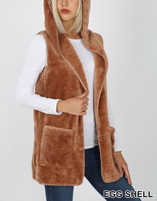 Sleeveless Hooded Faux Fur Vest with Side Pockets