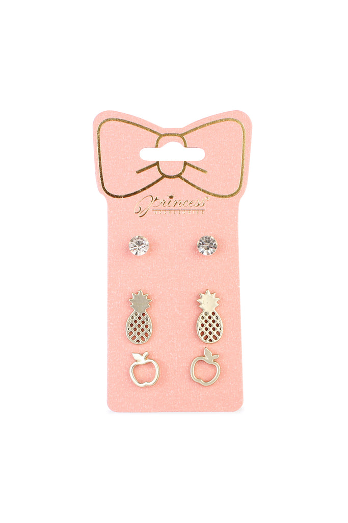 Apple & Pineapple 3-Pair Earring Set