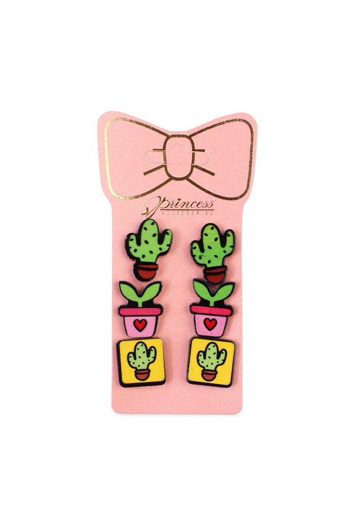 Cactus 3-Pair Earring Set - Riah Fashion