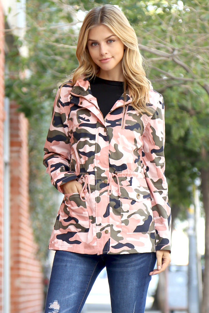 Camouflage Hooded Pocket Jacket