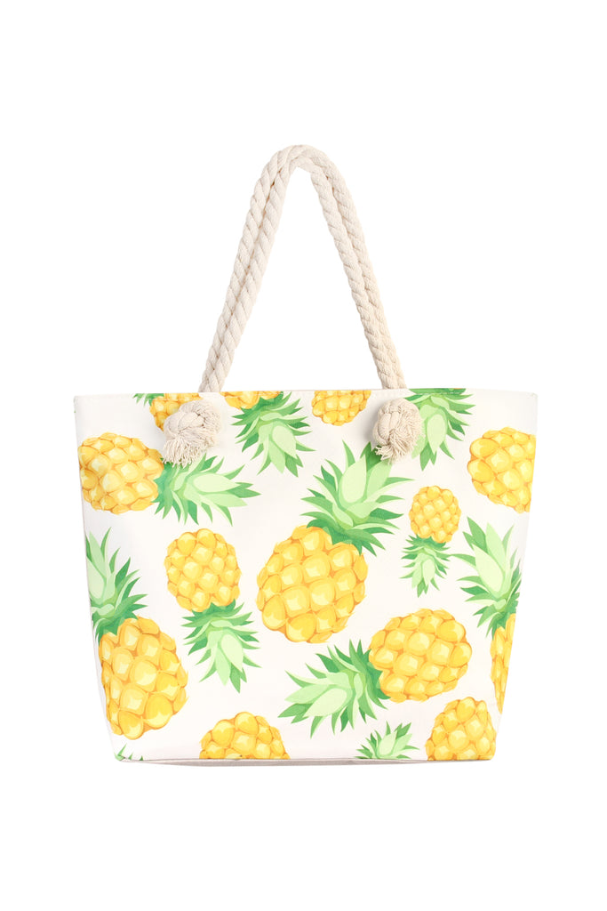 Yellow & Green Pineapple Print Tote