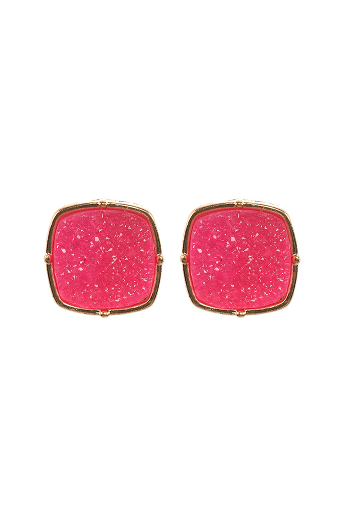 FE1919 - DRUZY POST SQUARE EARRINGS