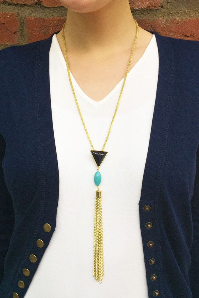 Gold Rope Chain Tassel Necklace