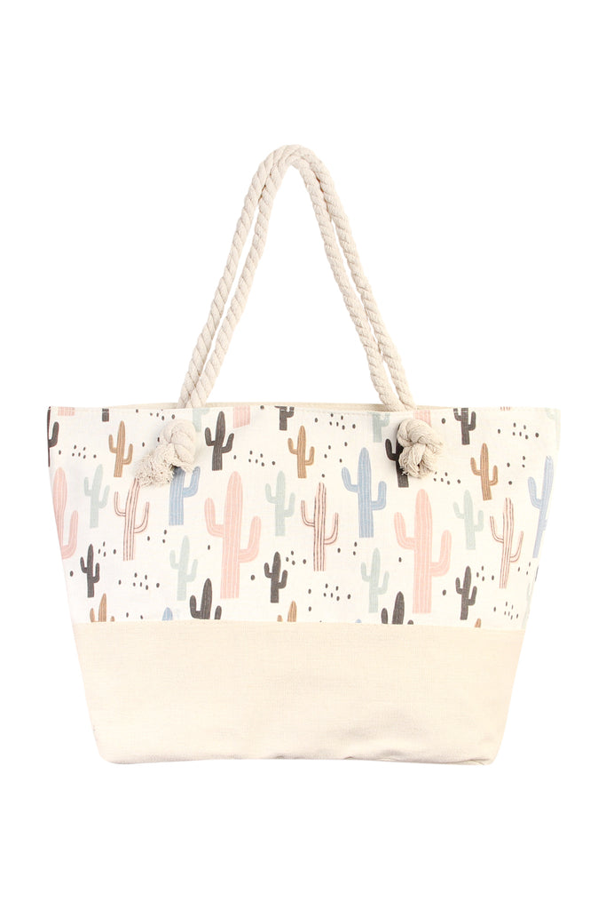 Cactus Print Summer Tote Bag - Riah Fashion