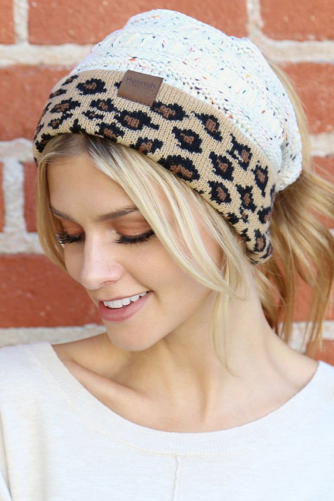 Knitted Ponytail Leopard Beanie