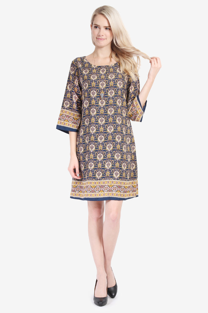 3/4 SLEEVE PATTERN PRINT SHIFT DRESS - Riah Fashion