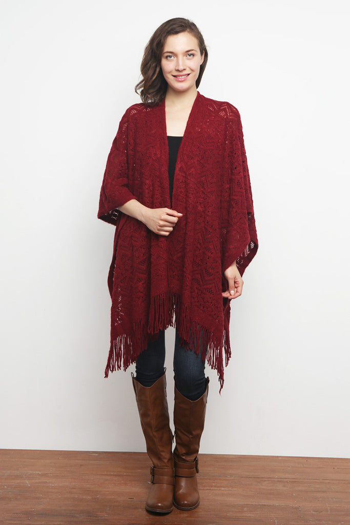 Open Front Fringed Poncho