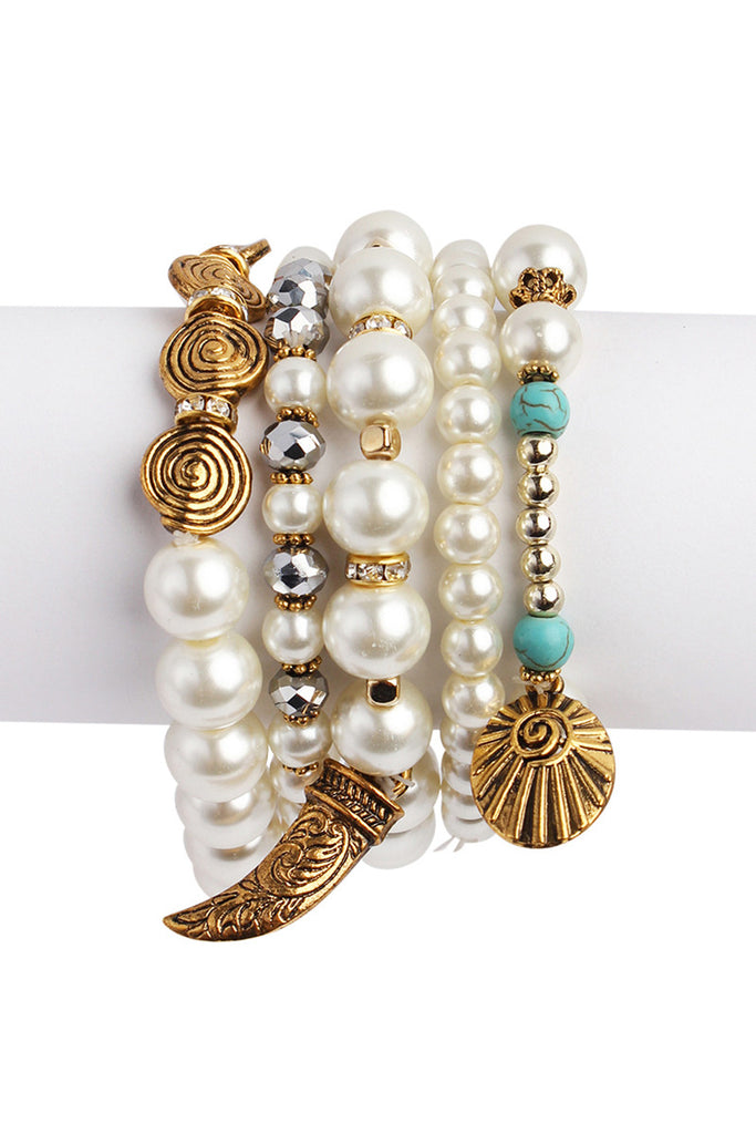 Multi Design Pearl Bracelet Set