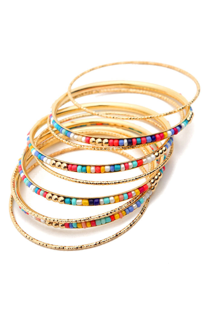 Beaded Bangle Set - Riah Fashion