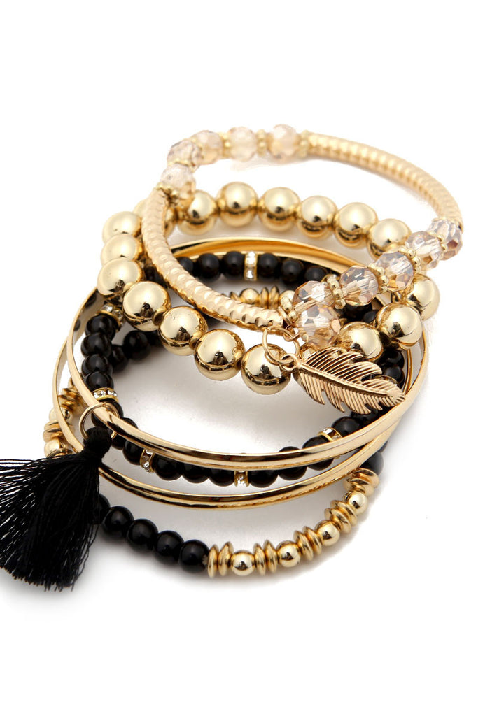 Multi Beaded Tassel Bangle Set