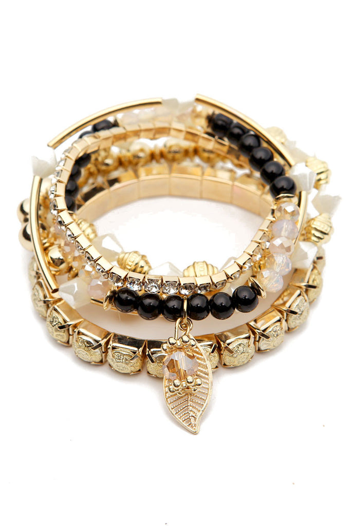 Multi Beaded Leaf Stretch Bracelet