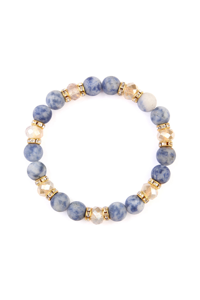Natural Stone, Rondelle Beads Stretch Bracelet