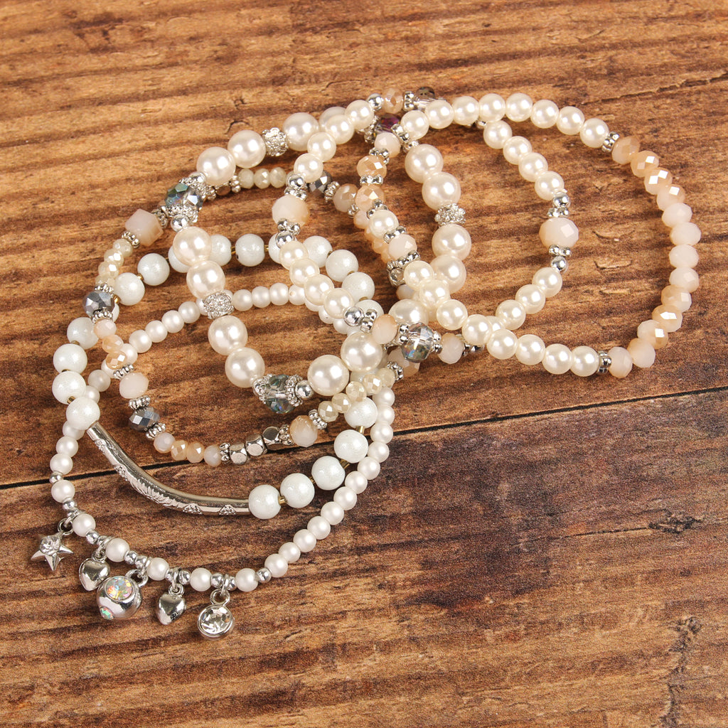 STACKABLE CHARM PEARL BRACELET