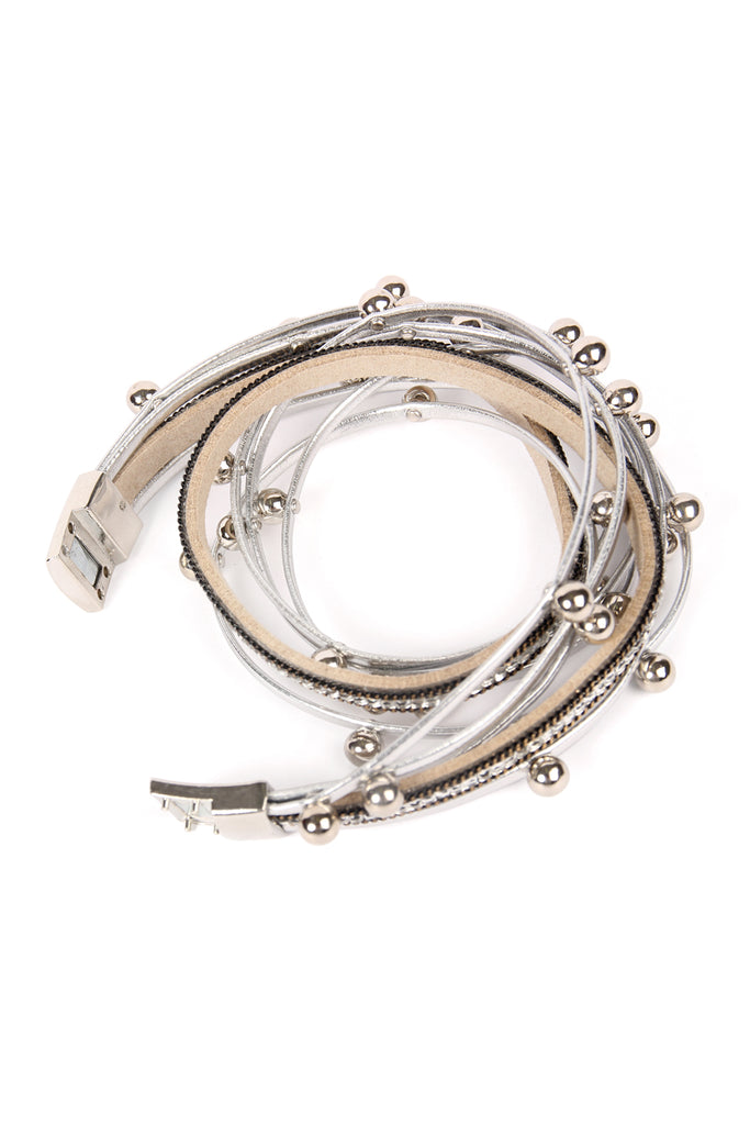 Magnetic Lock Leather Wrap Bracelet