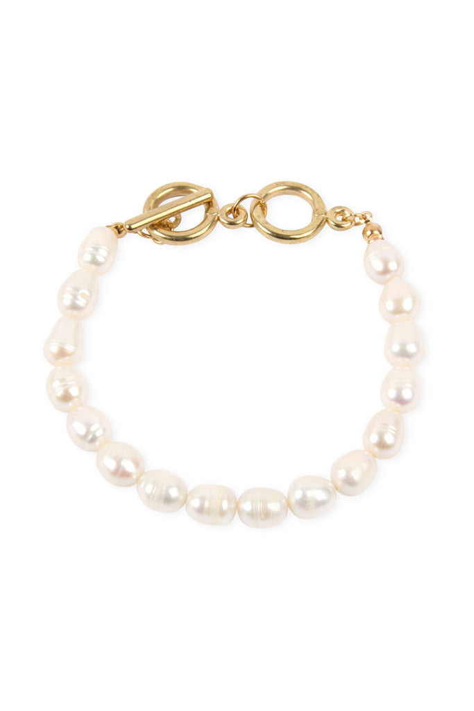 Chain Pearl Toggle Bracelet