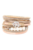 Rhinestone Embellished Wrap Bracelet with Pearl Beads