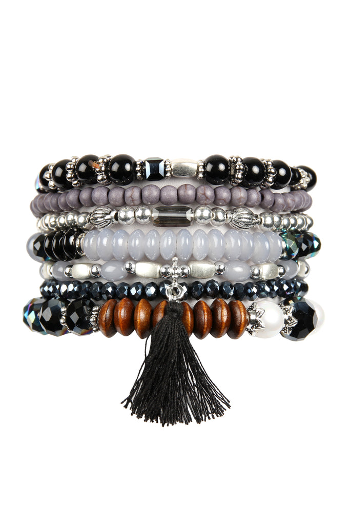 MIXED BEADS TASSEL CHARM BRACELET